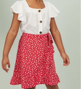 White Top and Red Skirt/ H&M Kids